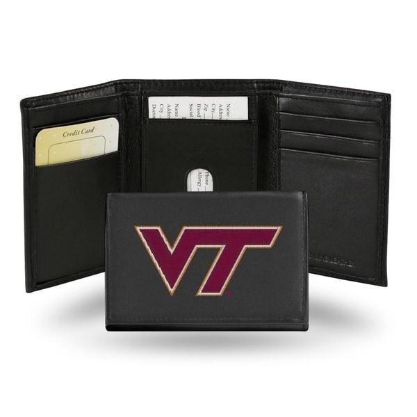 Virginia Tech Hokies Men's Black Leather Tri-fold Wallet