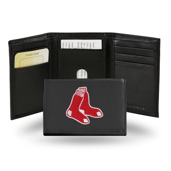 Boston Red Sox Men's Black Leather Tri-fold Wallet