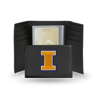 Illinois Fighting Illini Men's Black Leather Tri-fold Wallet