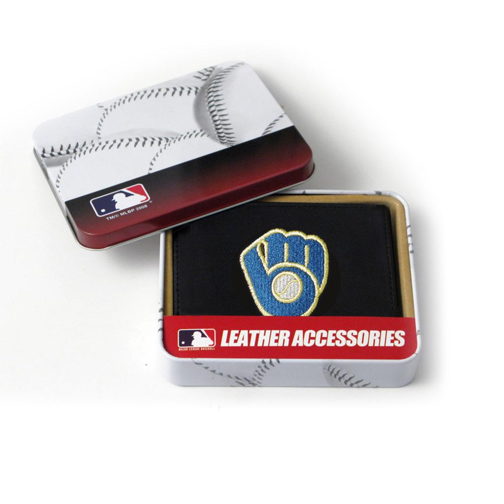 Milwaukee Brewers Men's Black Leather Tri-fold Wallet