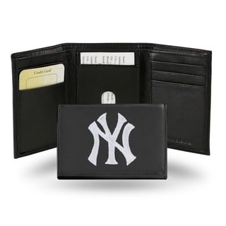 New York Yankees Men's Black Leather Tri-fold Wallet