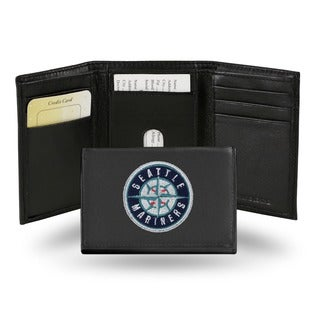 Seattle Mariners Men's Black Leather Tri-fold Wallet