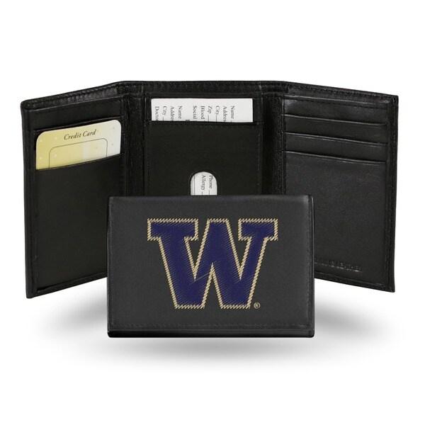 Washington Huskies Men's Black Leather Tri-fold Wallet