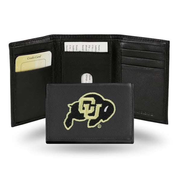 Colorado Buffaloes Men's Black Leather Tri-fold Wallet