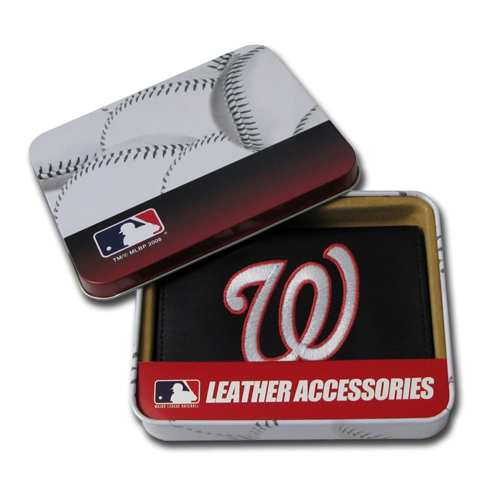 Washington Nationals Men's Black Leather Tri-fold Wallet