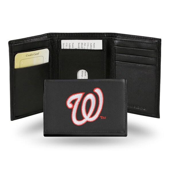 Washington Nationals Men's Black Leather Tri-fold Wallet