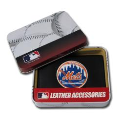 New York Mets Men's Black Leather Tri-fold Wallet