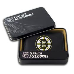 Boston Bruins Men's Black Leather Tri-fold Wallet