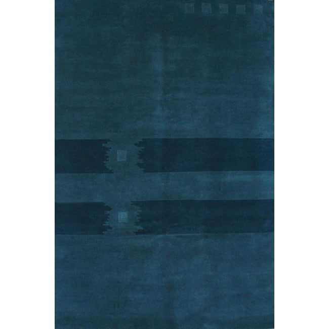 Hand-Knotted Semi Worsted Dark Blue New Zealand Wool Rug (6' x 9')