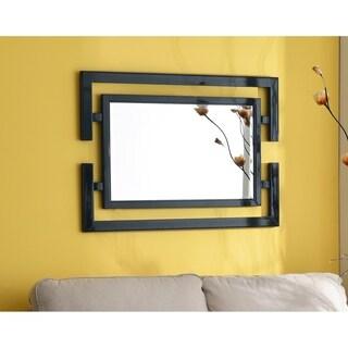 Quadrate 41x29 Glossy Black Beveled Wall Mirror
