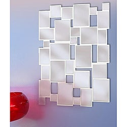 Collage 39x28 Glossy White Wall Mirror
