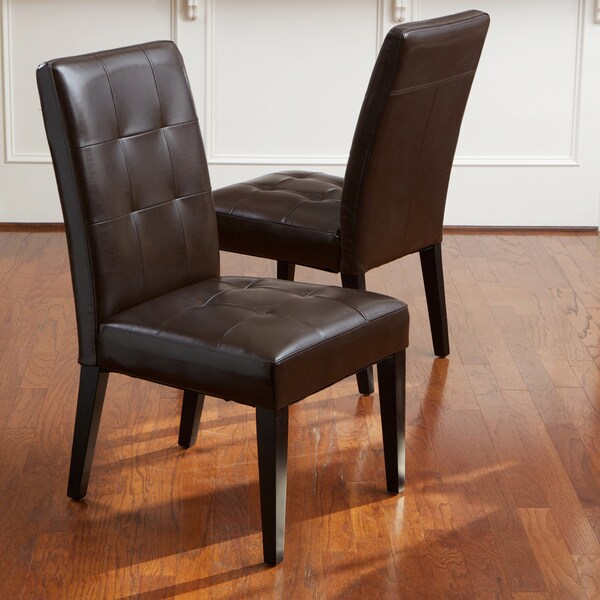 Set Of 2 Dining Room Furniture Tufted Brown Leather Dining: Shop Cambridge Tufted Brown Bonded Leather Dining Chair