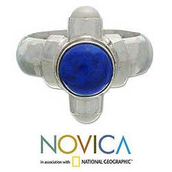 Sterling Silver 'Trio' Freshwater Pearl Lapis Ring (3 mm) (Indonesia)