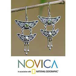 Sterling Silver 'Summer Moonlight' Peridot Earrings (Indonesia)