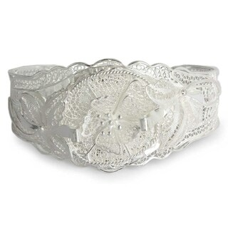 Handmade Wild Rose Romantic Flower Theme Vintage Look 925 Sterling Silver Filigree Womens Cuff Bracelet (Indonesia)
