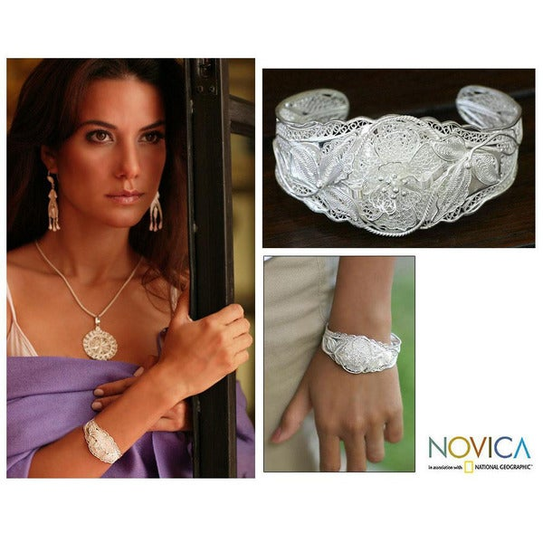 Wild Rose Romantic Lace Like Feminine Flower Theme Vintage Look 925 Sterling Silver Filigree Womens Cuff Bracelet (Indonesia)