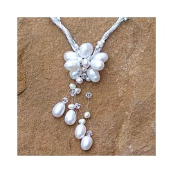 Handmade 'Flower of Siam' Freshwater Pearl Necklace (4-8 mm) (Thailand)