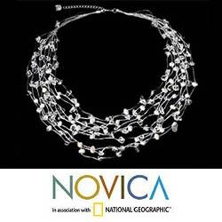 Silk 'Cascade' Freshwater Pearl and Quartz Necklace (6 mm) (Thailand)