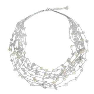 Handmade Silk 'Cascade' Freshwater Pearl and Quartz Necklace (6 mm) (Thailand)