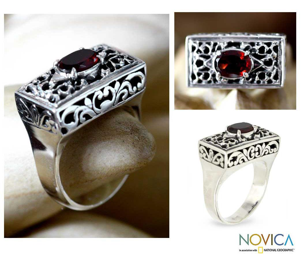 Handmade Sterling Silver Filigree 'Royal Coronation' Garnet Ring (Indonesia) - Thumbnail 0