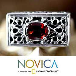 Handmade Sterling Silver Filigree 'Royal Coronation' Garnet Ring (Indonesia) - Thumbnail 2