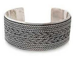Handmade Sterling Silver Wicker Weave Cuff Bracelet (71 Gm) (Thailand)