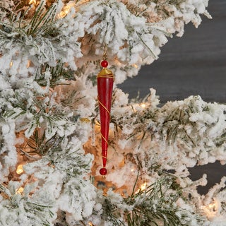 Glass and Brass Red Icicle Christmas Ornament (India)
