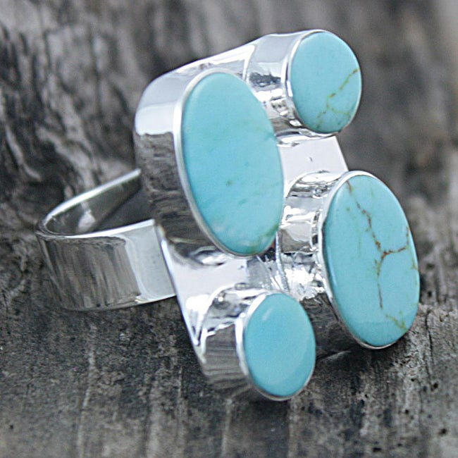 Sterling Silver Turquoise Adjustable Ring (Mexico)