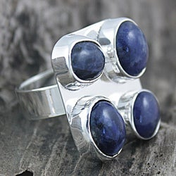 Handmade Sterling Silver Sodalite Adjustable Ring (Mexico)