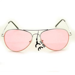 Women's 30011c Silvertone Aviator Sunglasses with Pink Lenses - Thumbnail 0