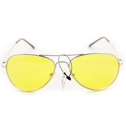 Women's 30011c Silvertone Aviator Sunglasses with Yellow Lenses