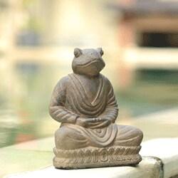 Handmade Volcanic Ash Meditating Frog Statue (Indonesia)