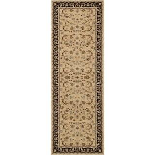 """Primeval Beige/ Black Oriental Rug (2'8 x 7'7"""")"""