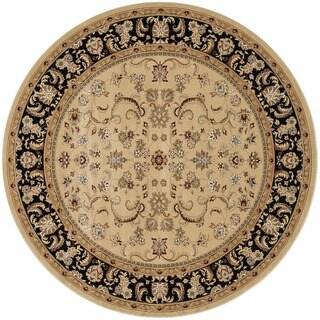 Hand-tufted Primeval Beige Oriental Rug (7'7 Round)