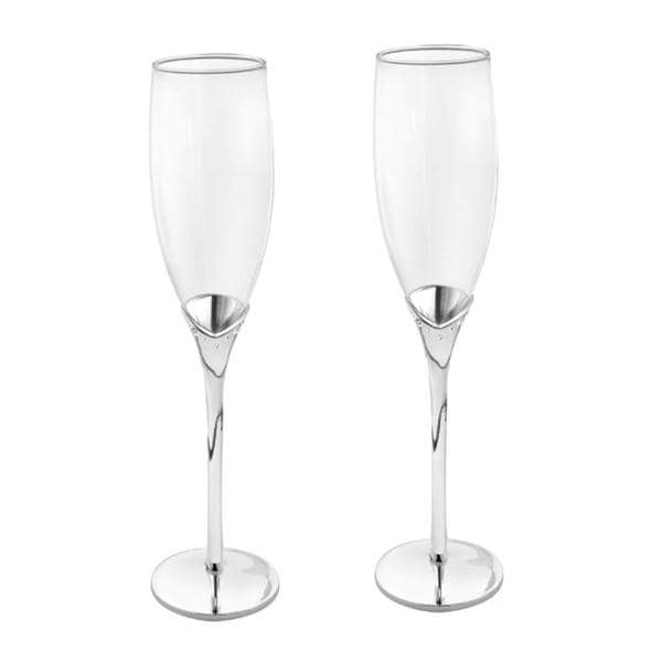 Silver-plated Champagne Stone Design Toasting Flutes (Set of 2)