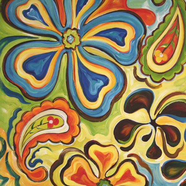 'Floral Retro' Acrylic Canvas Art