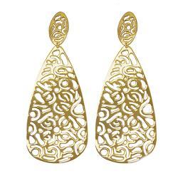 Adee Waiss 18k Goldplated Sterling Silver Cutout Teardrop Earrings