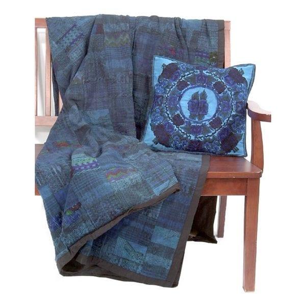 Vivid Blue Quilt/ Pillowcase Set (Guatemala)