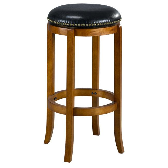 Jackson Bicast Leather Swivel Dark Oak Bar Stool - Thumbnail 0