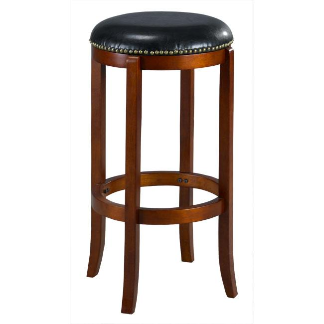 Jackson Bicast Leather Swivel Cherry Bar Stool - Thumbnail 0