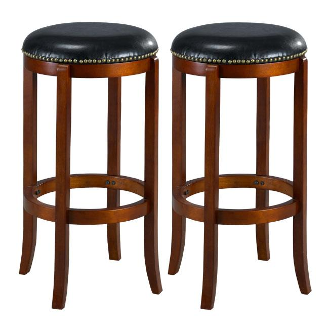 Jackson Bicast Leather Cherry Swivel Bar Stools (Set of 2)
