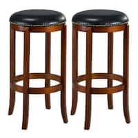 Jackson Bicast Leather Cherry Swivel Bar Stools (Set of 2)