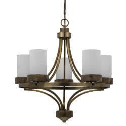 Travertino 5-light Burnished Brass Chandelier - Thumbnail 2