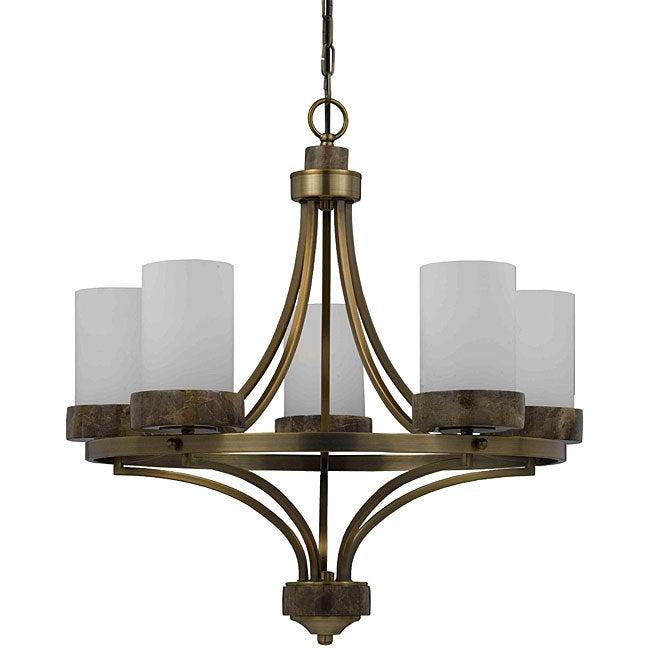 Travertino 5-light Burnished Brass Chandelier