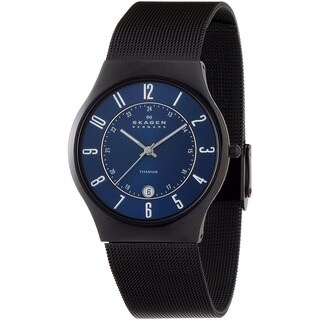 Skagen Men's Slim Black Titanium Sunray Blue Dial Watch