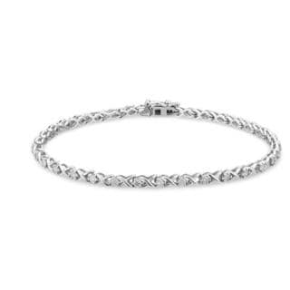 Miadora 10k White Gold 1ct TDW Diamond Tennis Bracelet (G-H, I2-I3)