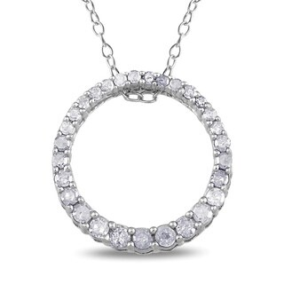 Miadora Sterling Silver 1/3ct TDW Diamond Circle Necklace