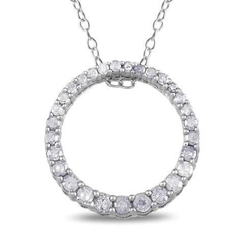 Miadora Sterling Silver 1/3ct TDW Diamond Circle Necklace
