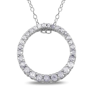 Miadora Sterling Silver 1/3ct TDW Diamond Circle Necklace (H-I, I3)