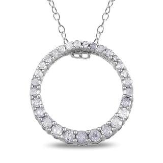 Miadora Sterling Silver 1/3ct TDW Diamond Circle Necklace (H-I, I3)